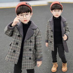 Larga capa de lana para niños chaquetas a cuadros grueso chico de lana abrigo de invierno niños snowsuit boy blends abrigos niños chaqueta bebé niño ropa
