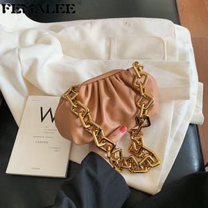 Leder Umschlag Weiche Wrinkled Dumpling Schulter Messenger Bag Big Ketten-Handtaschen-Abend-Handtasche Geldbeutel