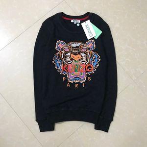 Bordado suéter Mantener caliente la cabeza del tigre sudaderas con capucha mujer del hombre de la alta calidad de manga larga del O-cuello jersey de algodón puro Terry KZ