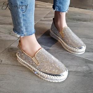 Rimocy плоские платформы обувь женщина скольжения на мокасины Mujer 2019 мода весна хрустальные случайные квартиры женщины круглый носок низкий каблук
