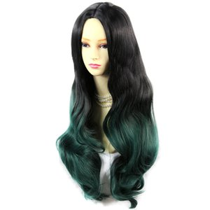 Incroyable Black Brown Green Long Wavy Lady Perruques Dip-Dye Ombre Cheveux