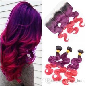 Vierge péruvienne # 1B Violet Rose Ombre Cheveux Trames vague de corps avec 13x4 de dentelle Frontal fermeture à trois tons Ombre Weave Bundles