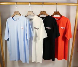 20SS di Alta Qualità Del Cotone di Estate T Shirt Tee Onda Del Mare priting strade Nero Bianco Blu Cotone
