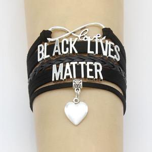 Je ne peux pas respirer Bracelet Lives noir Matière bijoux bracelet corde chaîne bracelet en cuir Pendentif breloque coeur main bracelets pour hommes, femmes
