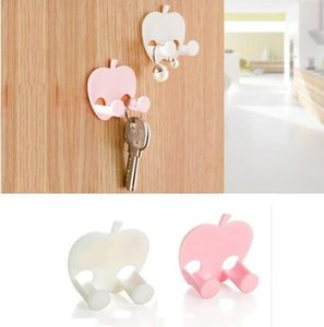1PC Lovely Sticky Apple Shape Plug Linked Holder Hooks housekeeper decorative wall hooks Wall Hook organizer Bag Hanger home