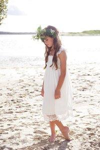 Fildişi şifon Çay Boyu Düğünler Ucuz Kare Dantel Kız Boho Beach Country Çiçek Kız Elbise Casual Abiyeler Özel B194
