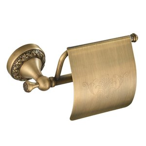 Retro Brass Wall Mounted Toilet Roll Paper Holder With Cover Paper Storage Rack with Concealed Screws