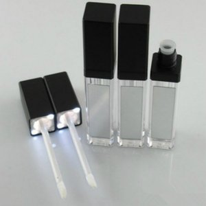 Топ Продажа LED Empty Lip Gloss Tubes Черный квадрат Clear Блеск для губ труб Refillable LipGloss Бутылки Контейнеры пластиковые упаковки с зеркалом