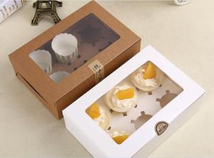 Zwei-Loch-Tortenschachtel Kraft Card Paper Cupcake Box 6 Cup Kuchen Halter Muffin Kuchen Boxen Dessert Portable Package Box Six Tray Geschenk gefallen