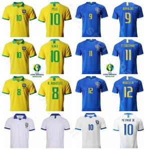 Brésil 2019 Copa America Soccer PELE Maillot Équipe Nationale Domicile Extérieur KAKA RONALDO OSCAR AUGUSTO DAVID LUIZ Maillot de Football Kits Uniforme