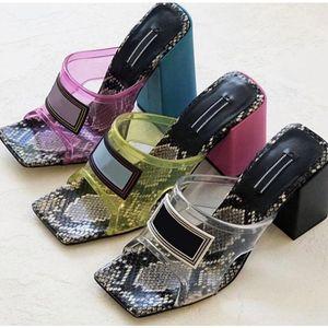Cuero de lujo de las mujeres transparentes de cristal de PVC sandalias de cuero genuino diapositivas de tacón alto mulas Diapositivas zapatilla de lujo de gran tamaño 34-42 con la caja