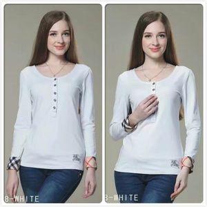 Yüksek Kaliteli Pamuk Klasik T-Shirt Moda kadın Giyim Güz Kış Yuvarlak Tops Tees İş Ofis Lady Slim Fit Şık T-Shirt Tops