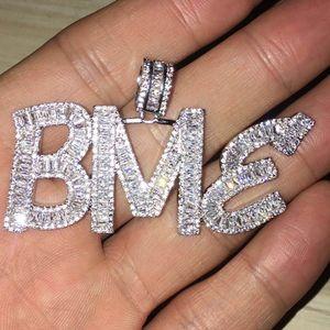 Benutzerdefinierte Namen Baguette Buchstaben Hip Hop Anhänger mit freien Seil Kette Gold Silber Bling Zirkonia Männer Hip Hop Anhänger Schmuck