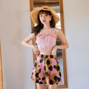 2020 Женщины Сладкий жилет Sexy Короткие юбки Урожай Ruffled Купальник высокой талией с плеча бикини Set
