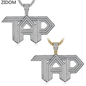 Homens Hip hop para fora congelado de bling TAP Cartas pingente colares Pave configuração Cubic Zirconia Moda legal hiphop dom colar de jóias