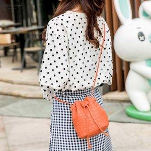 Simple Fashion Pu Embossed Lingge Ladies Pu Leather Bucket Bag Drawstring Shoulder Bag Messenger Bags Wallet