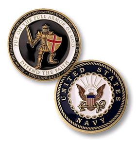 Presente da lembrança do clássico banhado a ouro moedas Unite States Navy US USN armadura de Deus Challenge Coin collectibles frete grátis