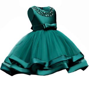 Sommer Kinder Kleinkind Mädchen Blütenblätter Kleid Kinder Brautjungfer Kleinkind Elegantes Kleid Vestido Infantil Formal Party Kleid Grün Y190515