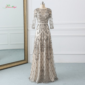 wholesale Sexy Illusion Long Sleeve Straight Prom Dress 2019 Luxury O Neck Beaded Crystal Pattern Party Gown Vestido De Festa