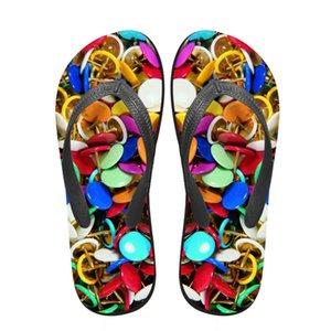Noisydesigns Mujeres chanclas 3D sujetador Cadena Cap Impreso verano de la plataforma del dedo del pie femenino mocasines sandalias deslizadores de los zapatos antideslizantes