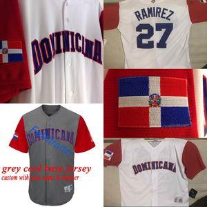 República Dominicana Duplo Stiched Cano Adrian Beltre Manny Machado José Bautista Nelson Cruz 2017 World Baseball Clássico WBC Jersey