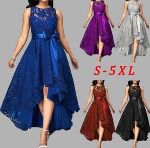 5 colori Plus Size partito del merletto Donne 5XL Dress Joineles Alto Basso irregolare Donne Dress girocollo maniche Cinture partito Vestidos