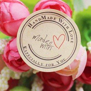 El parachoques barato 100pcs autoadhesiva corazón de Kraft de la vendimia hecha a mano con el sello auto etiquetas de papel amor gracias las etiquetas de tamaño de 3 cm