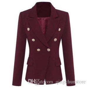Seamyla 2019 Women Coat Fashion Gold Buttons Double Breasted Runway Coat Long Sleeve Elegant Purplish Red Ourterwear Coats J1