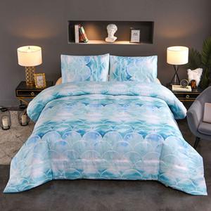 Escalas de peixes Bedding Set Marble Consolador capa azul Bed Set Glitter coloridas à moda Lençóis Childrens / Crianças / Adultos