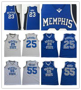 NCAA Memphis State Tigers Penny Hardaway maglie cucita 55 Lorenzen Wright Derrick Rose College maglie basket blu bianco
