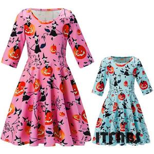 Pudcoco 2018 Lovely Family Kleid Mutter und Tochter Passende Mädchen-Kleidung Halloween-Druck PumpkinDresses