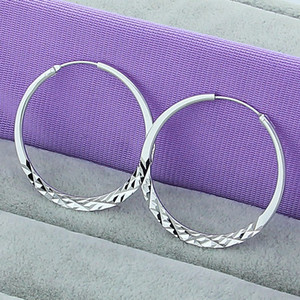 High Quality Hoop Earrings 925 Sterling Silver 5.0cm Circle Earrings Fashion Jewelry Wholesale Factory Direct Sales