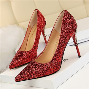8CM European and American style women's shoes high-heeled shallow mouth pointed sparkle sequins sexy thin nightclub high-heeled shoes 34-43