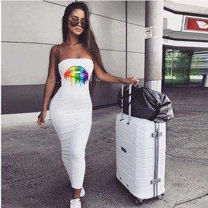 لون قوس قزح طبع الشفاه نمط الأزياء النحيفة Famale Daily Clothing Sexy Tube Top Hip Dress Women