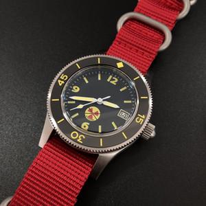 STEELDIVE 1952 첫 번째 다이빙 시계 스페셜 에디션 중국의 붉은 남자의 기계식 시계 316L 스틸 남성 손목 시계 T200409를 다시 새겨