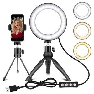 6 بوصة الصور الشخصية للحلقة الضوء مع ميني ترايبود حامل الهاتف الخليوي لحامل ماكياج التصوير سطح المكتب عكس الضوء LED حلقة الضوء