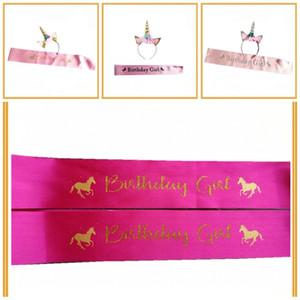 2 Pcs Unicórnio Headband E Cachecóis Terno de Aniversário Menina Impresso Alça de Ombro Hairband Conjuntos de Cabelo Kits de Hoop Party Favores Suprimentos 5 5 hz E1
