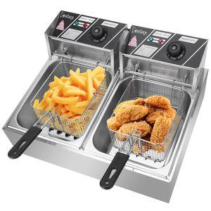 Fries 12L acero inoxidable profundo de la freidora eléctrica de doble cilindro franceses Fried Chicken chip con cestas para el hogar comercial 2 tanques
