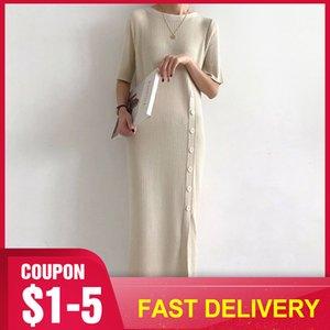 여름 한국어 니트 스웨터 드레스 여성 우아한 베이지 색 고체 하프 슬리브 Bottons 슬림 드레스 레트로 프레피 스타일 미니멀