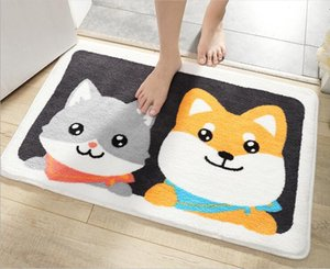 Shiba Inu and cute Modern home flocking door mat home entrance porch non-slip mat bathroom entrance water-absorbing foot pad,cheap price