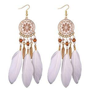 plume à la main Tassel Boucles d'oreilles tendance à long Dangles feuille de perle boucles d'oreille femmes bijoux boucle d oreille expédition de baisse