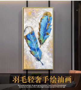 Living room entrance decoration painting Light luxury corridor feather painting Hotel modern minimalist mural hand-painted oil painting atmo