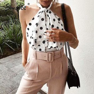 Simplee Sexy sleeveless chiffon party blouse tops Women polka dot print short tops shirts Summer holiday beach high street