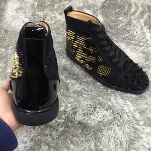 [Caja original, EU35-47] Marca top del alto Rhinestone Spikes inferiores rojos zapatos de la zapatilla de deporte, hombres famosos diseñador ocasional del vestido de partido del monopatín