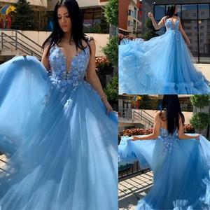 Синие тюлевые платья выпускного вечера скромное вечернее платье вечерние театрализованные платья Spaghettii Special Occasion Dress Dubai robes de soire