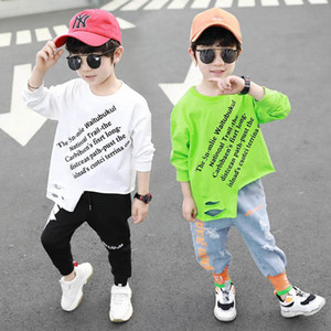 2020 new fashion letter boys T shirt long sleeve kids T-Shirt cotton hole boys shirt kids  clothes boys clothes retail B692