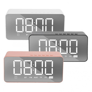 Q31 LED Alarm Clock with FM Radio Wireless Bluetooth Speaker Mirror Display Support Aux TF USB Music Player Wireless for Office Home