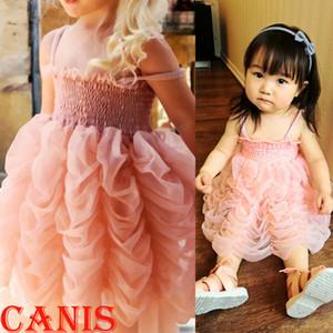 Малыш дети девочка принцесса лето розовый пачка пузырь партия платье Одежда 1-6Y