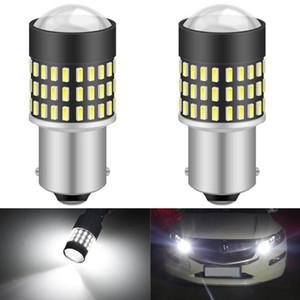 2pcs BA15S P21W 1156 LED Bombillas 7443 W21 / 5W 3157 3156 T25 Encienda las luces del coche de copia de seguridad de la señal inversa de parada del freno luz 12V DRL de reproducción