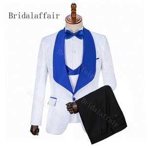 Bridalaffair 2019 nuevo caliente Fine Groomsmen Lapel Groom Tuxedos Trajes de hombre Boda / Baile / Cena Best Man Blazer (Jacket + Pants + Vest)